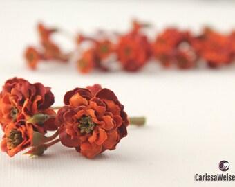 Primroses - Artificial Pom Pom Roses in Orange - VERY SMALL FLOWERS