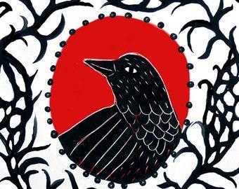 Blackbird in the Brambles, 4x4 clay tile