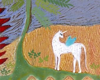 Unicorn Tile | Clay Tile | Ceramic Art Tile | Decorative Tile | Ceramic Tiles | Colorful Tile | Animal Art | Small Gifts | Housewarming Gift