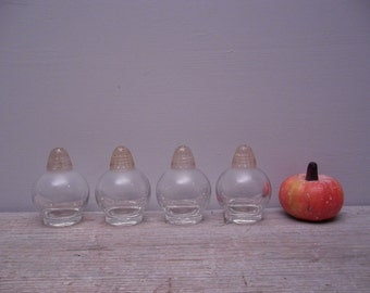petite bubble glass salt and pepper shakers /set of 4 / acrylic lids