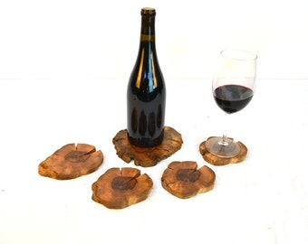 "COASTERS - ""Ensemble"" - Grapevine Coasters - set of 4 + one XL for bottle - 100% Recycled"