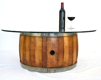 "NAPA - ""Zebra"" - Wine Barrel Coffee Table with Offset Staves - 100% Recycled"