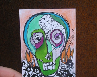 Skull with Black Roses - original ACEO drawing