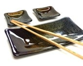 Sushi Set, Iridescent Black Fused Glass, Plate and Two Small Dishes