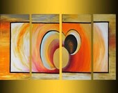 christmas sale abstract art painting modern free shipping geometric art acrylic painting on canvas yellow red orange gold