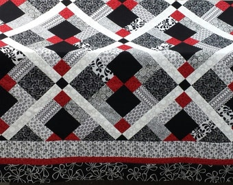 Gorgeous Black  white and red  cust om made Queen size quilt  organic