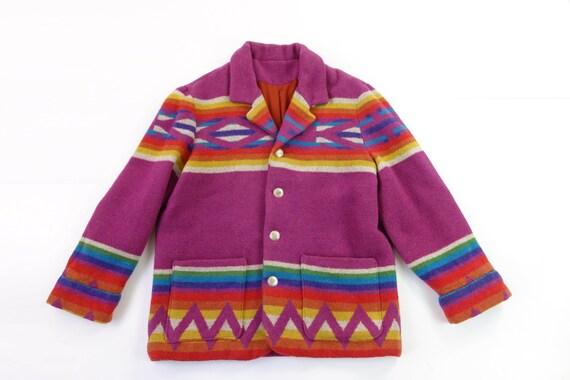 SALE Vintage 1970s Southwestern Coat Striped Wool XL