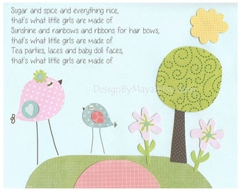 Baby girl room, nursery wall art, Love birds...pink, baby blue, sisters, sugar and spice, flowers, butterfly, match to colors of banana fish