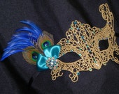 Gold Lace Masquerade Mask with Peacock Feathers, Teal and Blue Stones and Accents
