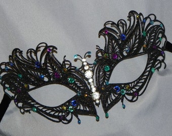 Masquerade Mask - Metal Mask in Turquoise, Blue and Purple