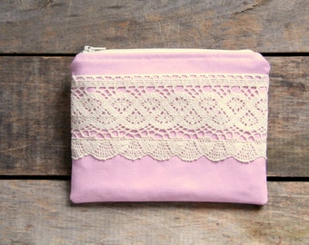 pink and cream zipper pouch, crochet lace, bridesmaid, cosmetic bag, makeup bag, stocking stuffer