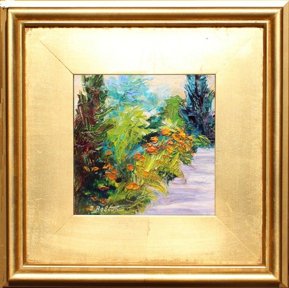Day Lily Path,  Flower Still Life Portrait Painting, Original Oil Painting, Framed small Painting, Gold Frame, Gift Item, Garden Painting