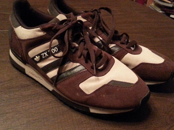 Vintage Adidas Mens ZX 700 Sneakers Brown and Tan Suede Size 10.5 1980s Made in Germany