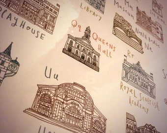 Edinburgh Alphabet Illustration Print