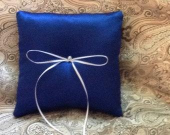 custom made dark blue satin ring bearer pillow