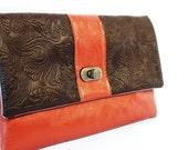 Twist lock clutch purse, Terracotta brown floral leatherette