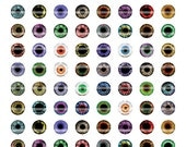 6mm Eyes Printout Collage Sheet of 42 Designs for Cabochon and Jewelry Making or Scrapbooking
