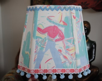 Square Lampshade made with vintage mexican motif tablecloth aqua and blue retro lampshade