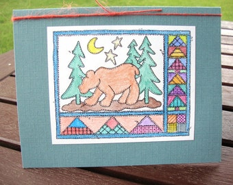 Bear in the Woods Note Card for Birthday - Fathers Day - Thank You - Thinking of You - Guy - Dad - Uncle - Boyfriend - Grandpa