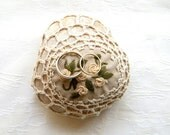Wedding  Ring Holder, Ring Bearer Pillow Alternative, Natural Wedding Favors Inspirational wedding Decor, Shabby chic Crochet Stone