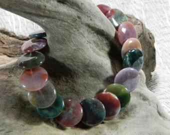 "Multicolored Indian agate bracelet 9"" long overlapping circles semiprecious stone jewelry packaged in a colorful gift bag 10563"