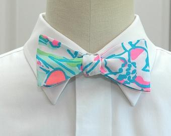Lilly Bow Tie in  pink splish splash (self-tie)