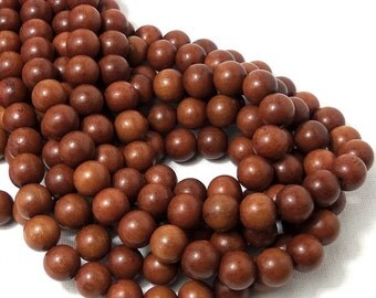 Magkuno Wood, 10mm, Light, Round, Smooth, Natural Wood Beads, Large, Full Strand, 44pcs - ID 1373-LT