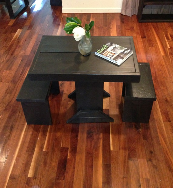 Small Dining Set For 2: Dining Room Set For 2 / Small Table And Bench Set / Dinette