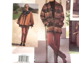 Vogue 1213 Very Loose Fitting Poncho or Dress, Shawl Collar Jacket, Neck Binding  Ruffle Top, Tapered Leg Pants and Skirt Bust 34 36 38