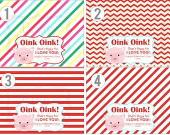 INSTANT Download-Valentine's Day Treat Bag Tags: PIGGY-Printable PDF