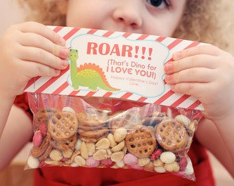 INSTANT Download-Valentine's Day Treat Bag Tags: DINO -Printable PDF