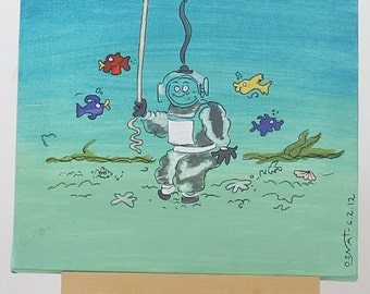 Acrylic Painting - DIVER  Canvas Small Wall art, perfect for nurseries!