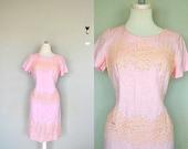 Blush Pink 1960s Pink Dress / Pink Cotton Lace Dress / Light Pink Lace Day Dress / Vintage Pink Dress