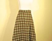 Wool Plaid Skirt - Medium Vintage Skirt A Line