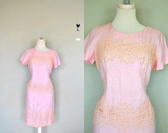Blush Pink 1960s Pink Dress / Pink Cotton Lace Dress / Light Pink Lace Day Dress / Vintage Pink Dress