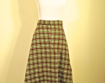 Wool Plaid Skirt - Medium Vintage Skirt A Line