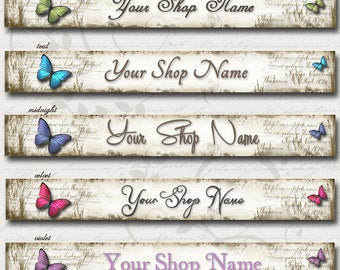 Custom SHOP BANNER Set, Butterfly Series, Matching Avatar