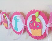 Cupcake Birthday Banner in Pinks with Orange & Turquoise - bright sprinkle cupcake collection
