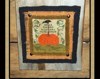 Fall Pumpkin- Leaves- Crow Punch Needle -Instant Download