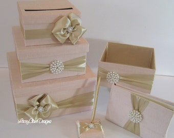Wedding Money Box Set, includes guest book, pen and program box, shown in blush and champagne gold