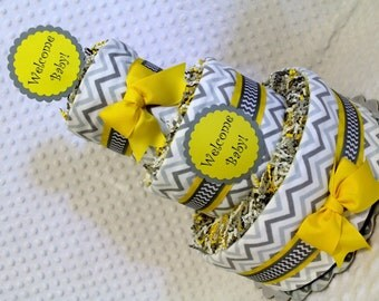 Chevron Baby Diaper Cake Shower Gift or Centerpieces Gray Yellow
