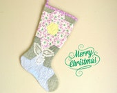 Christmas Stocking, Vintage Quilt, 1930s  Star Quilt, Pattern in Pink Light Blue, Grey Green, Crochet Lace, Shabby Chic
