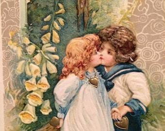 Victorian Valentine Postcard -   Boy Girl - Foxgloves  - Flowers