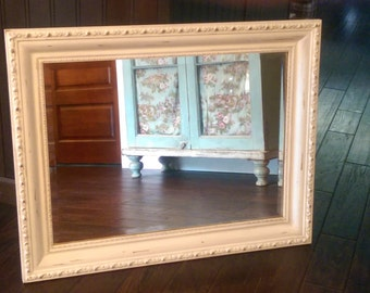 Large Vintage Milk Painted Distressed White Mirror