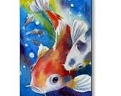 Koi Fish Art Print on Wood Kids Room Decor by Janet Zeh
