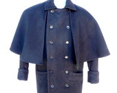 Mans English Regency Great Coat Victorian Overcoat with Detachable Cape Edwardian Steampunk