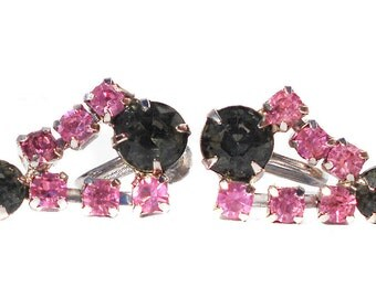 Vintage Jewelry  Screw Back Earrings with Dark and Pink Rhinestone Drops on Silver Tone
