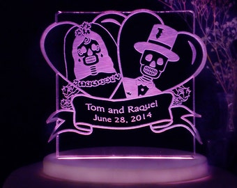 Skeleton - Day of the Dead Wedding Cake Topper - Personalized  - Light OPTION