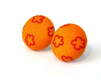 Orange button earrings - tangerine fabric earrings - tiny stud earrings red bright - fall autumn
