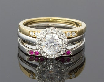 1.1 Carat Ruby and Diamond Halo Wedding Set in 18k White Gold and Yellow Gold